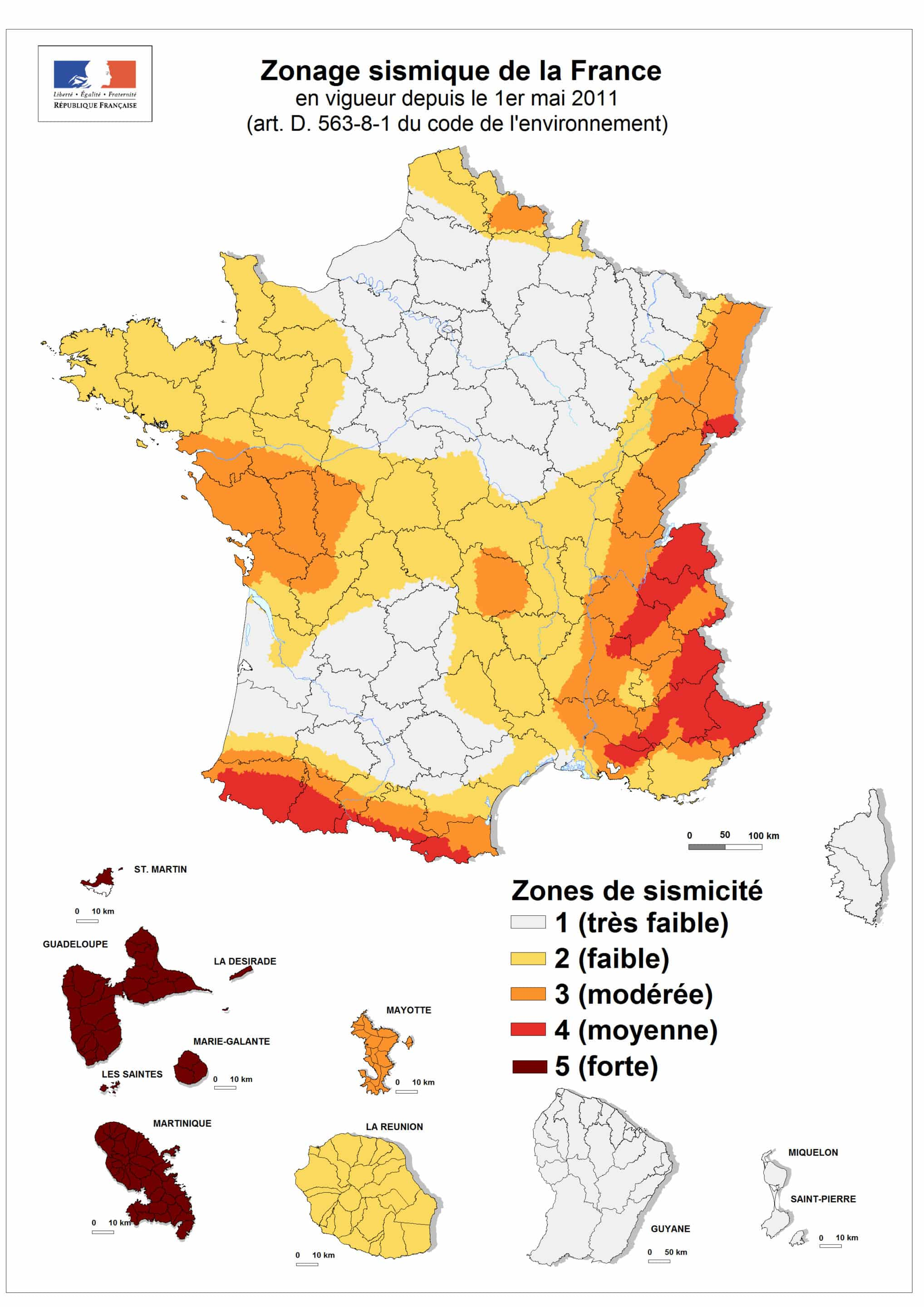 Zone sismique en france