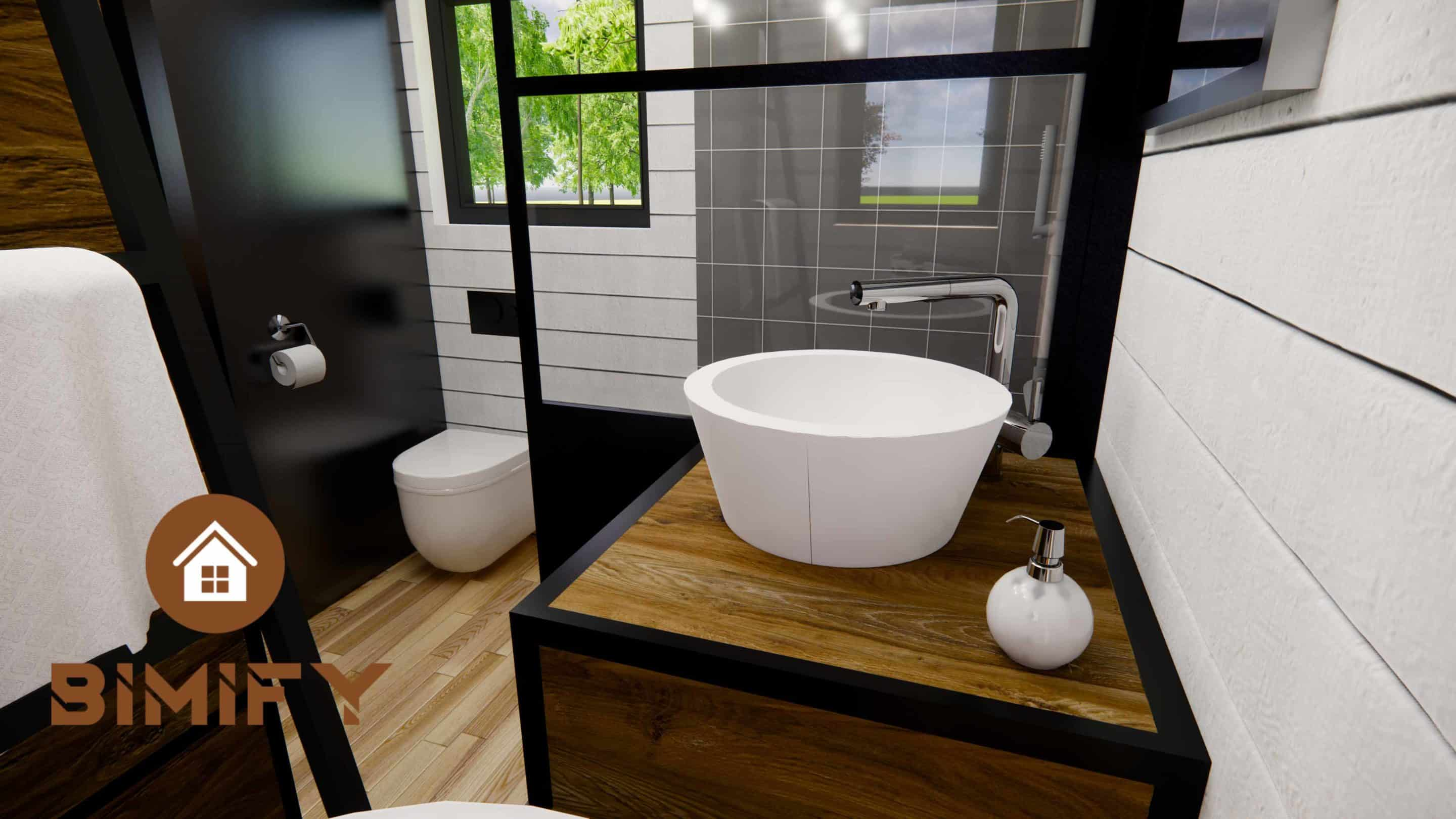 Tiny Chalet France view bathroom integrated and made to measure - TinyHouse