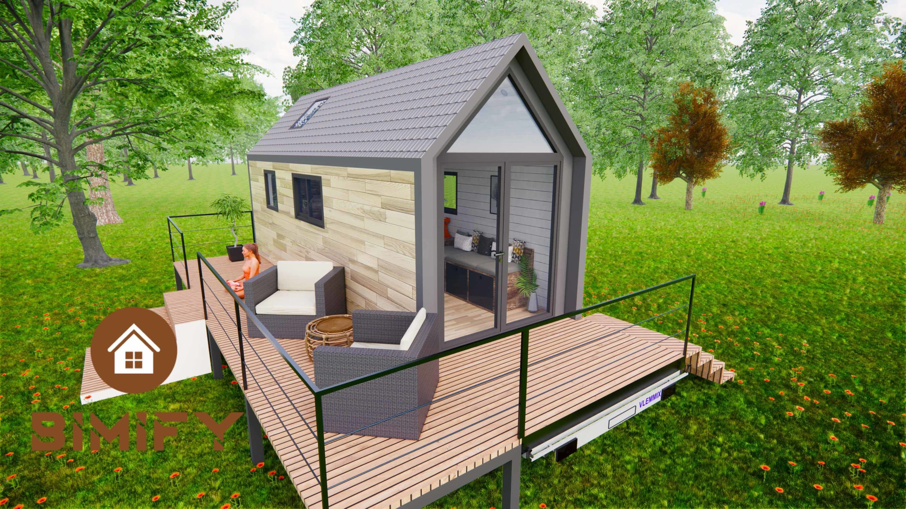 Tiny Chalet with large opening and integrated terrace on trailer