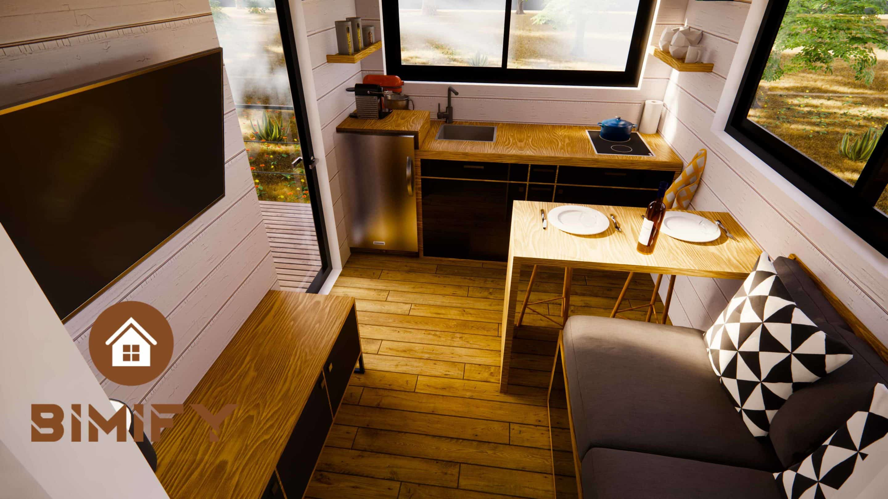 Disposición de la cocina del Tiny Duo 540 - tiny house