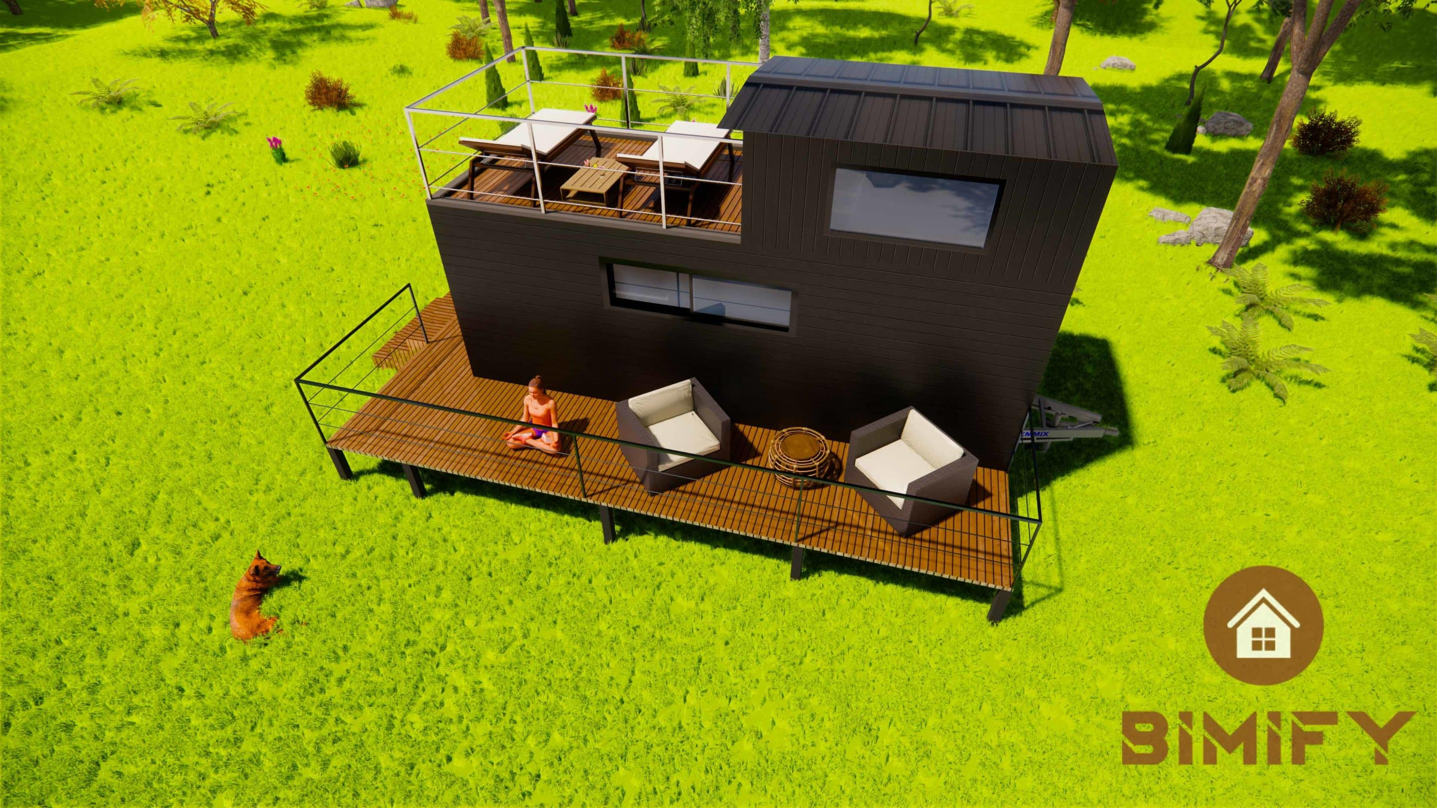 Tiny Duo 660 with roof terrace for a couple - Tiny House Moderne