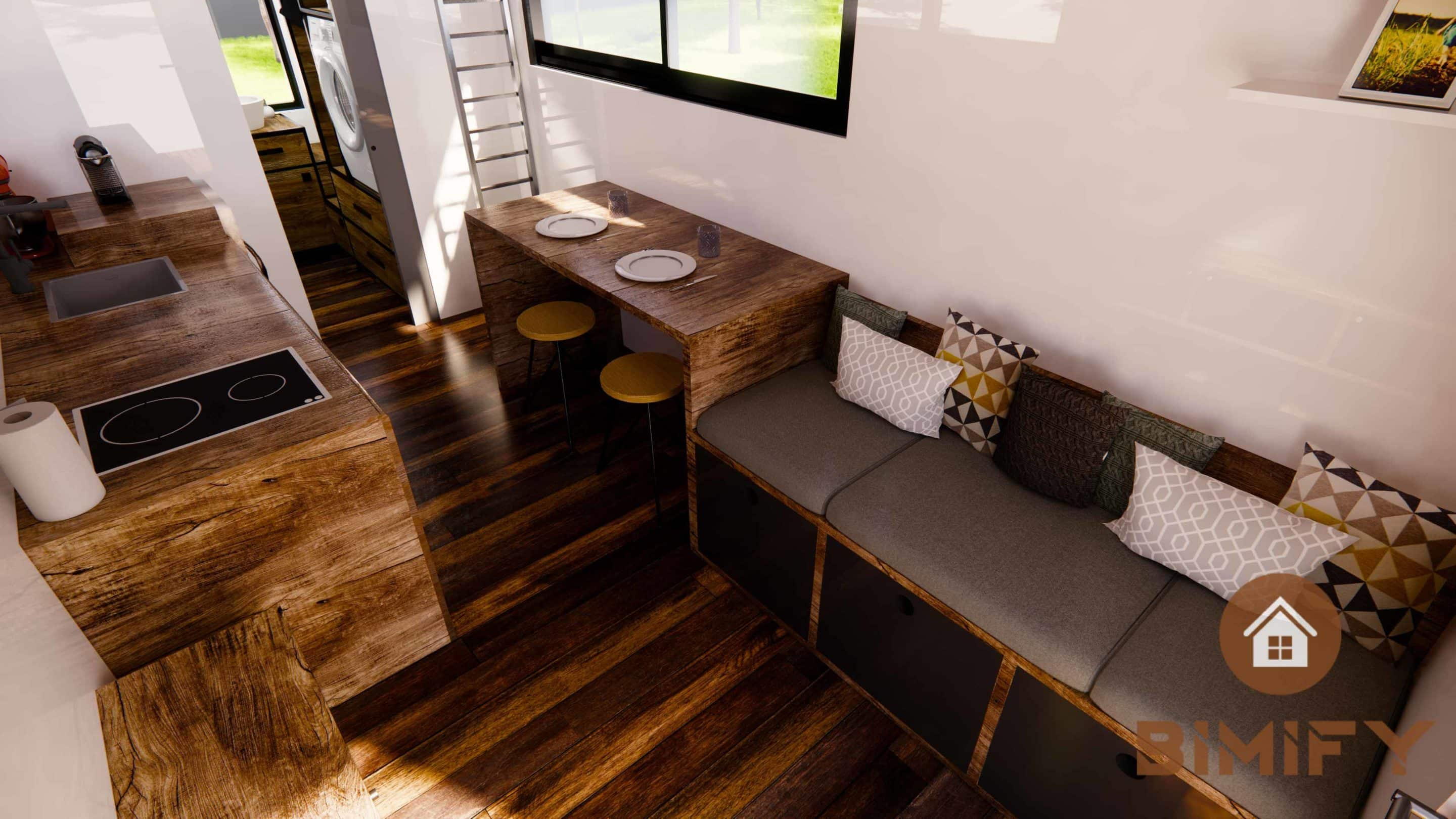 Interior layout tiny house kitchen and living room