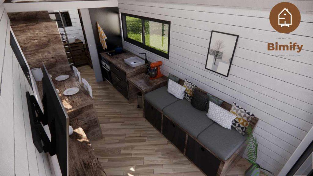 tiny house interieur pour 2 à 4 personnes