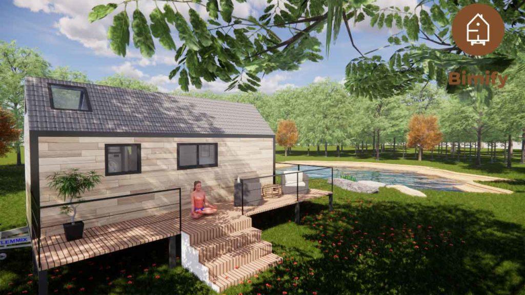 tiny house avec terrasse sur remorque