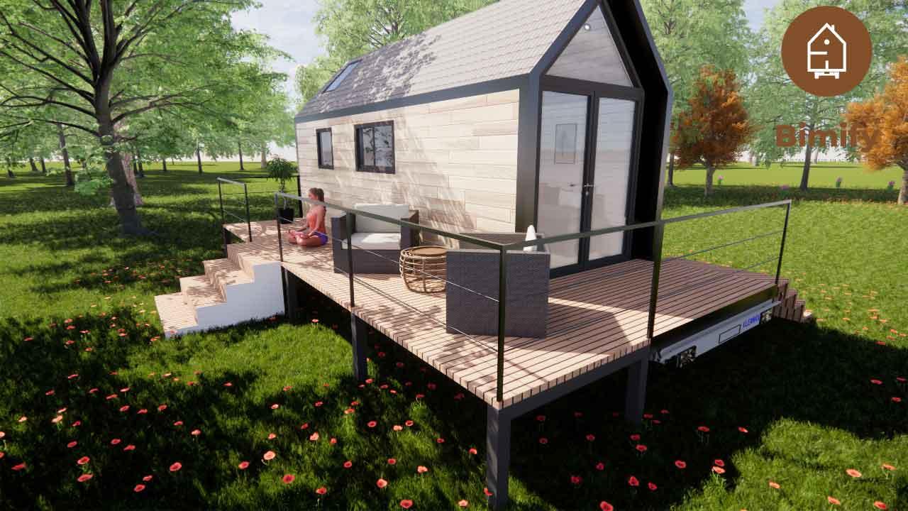 Tiny house moderne avec 1 mezzanine