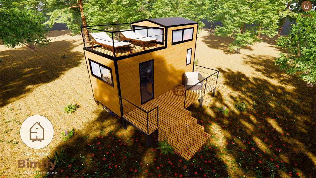 Terraza en la azotea de una pequeña casa para 2 personas
