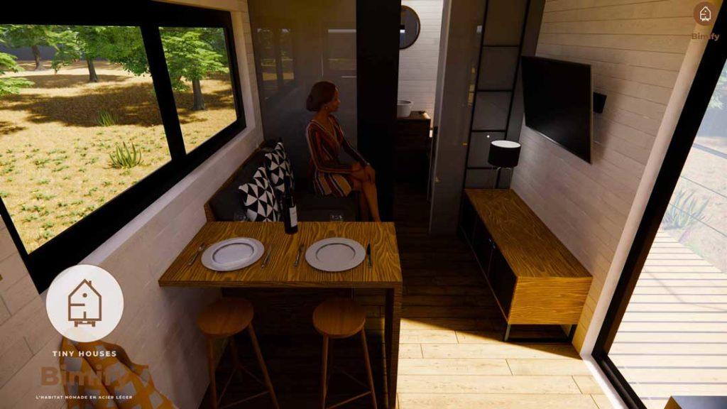 Espace tiny house minuscule et confortable