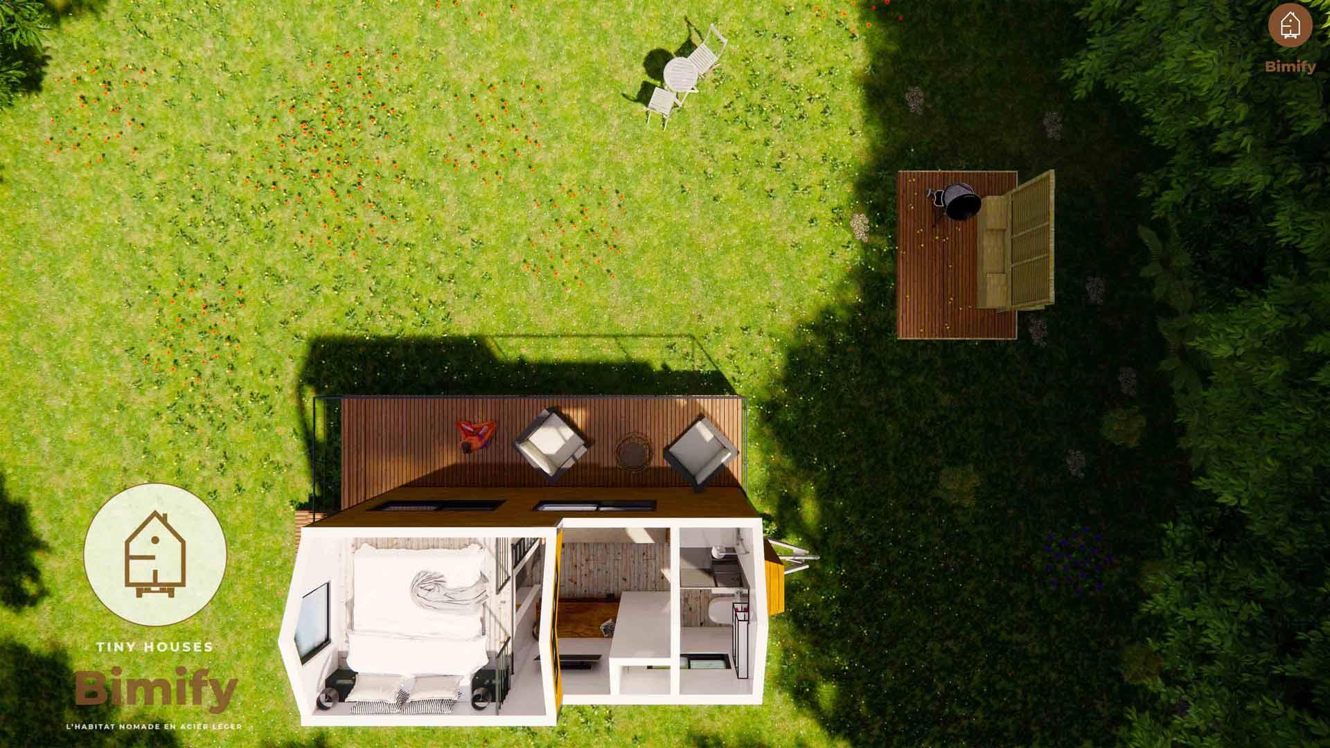 Interior de la casa pequeña a medida