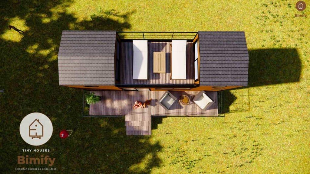 tiny house plan et terrasse sur le toit