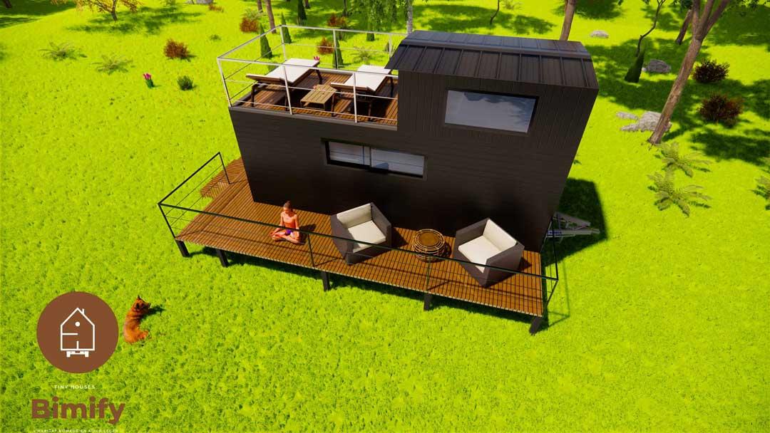 Pequeña casa de 1 dormitorio con terraza en la azotea.