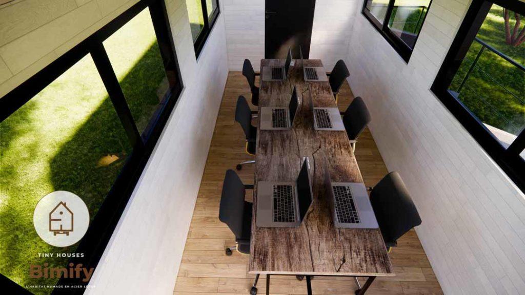 bureau mobile dans une tiny house